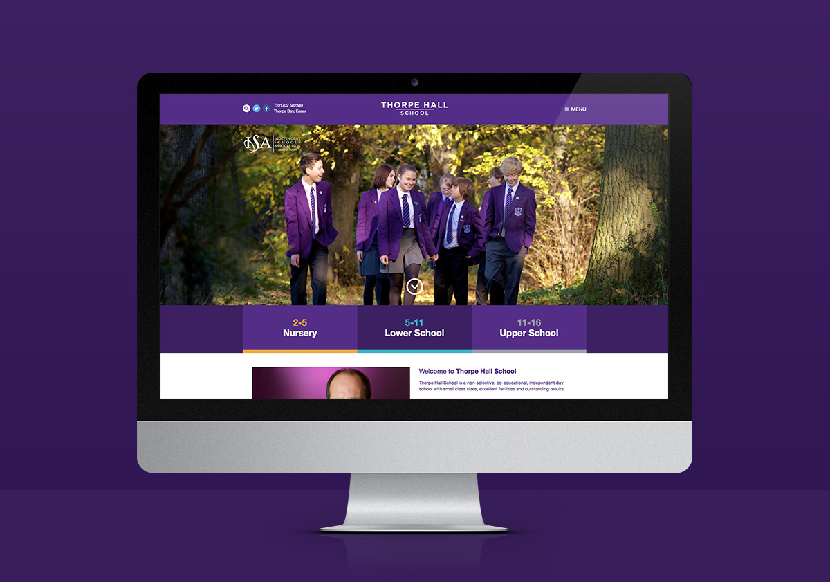 An image of the Thorpe Hall website designed by Insight Design