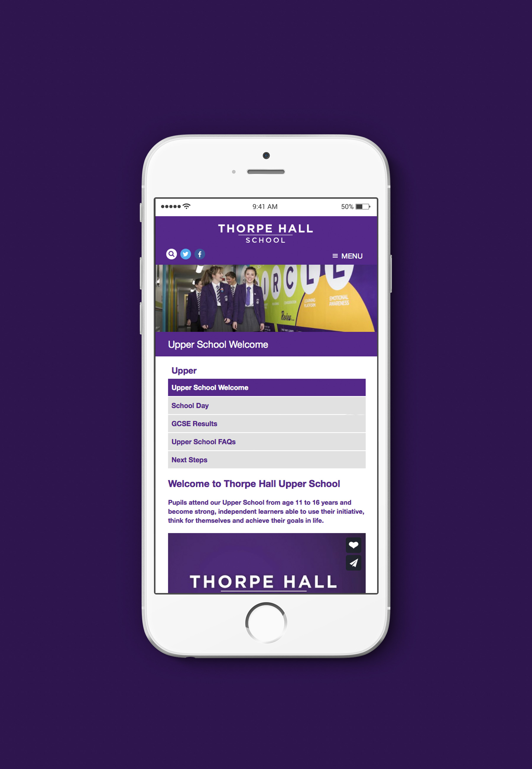 An image of the responsive Thorpe Hall website, designed and built by Insight