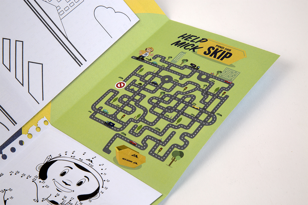 An image of the inside of Mick's Activity pack showing the 'Help Mick find his skip' maze.