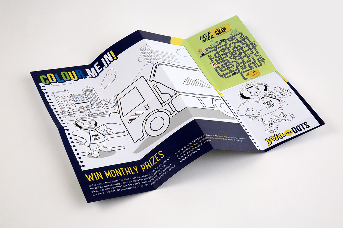 An image of the reverse side of Mick's Activity pack showing the 'colour me in' section